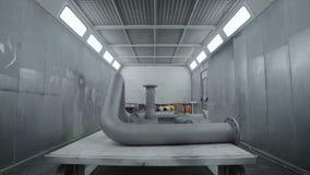 Gas-Rohr bereit zum Malen Moderne Werkstatt stock video
