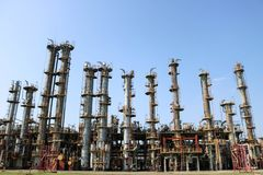 Gas separation unit, many rectification chemical columns, heat exchanging equipment at oil refinery, petrochemical, chemical. Plant Stock Photos