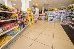Gas shop inside. Gas station store interior in France. Photo taken on: Septembre 12, 2015 royalty free stock image
