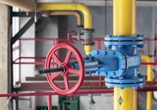 Gas shut-off valve at gas processing station royalty free stock photo