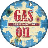 Gas  sign. Vintage gas station sign, illustration grungy style Royalty Free Stock Photography