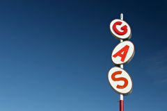 Gas sign retro. Style, red white and blue, against blue sky with plenty of copyspace Royalty Free Stock Photography