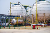 Gas silo. Large round gas silos Stock Images