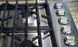 Gas Stainless Steel Stove Top Royalty Free Stock Photography