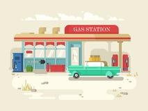 Gas stantion retro flat design Stock Image