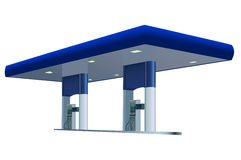 Gas station. Vector image of blue gas station Stock Photography