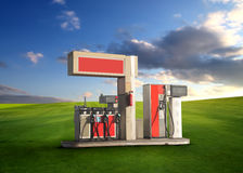 Gas station. In a grass field royalty free stock photo