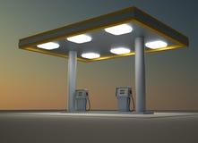 Gas station. In night. 3d render illustration vector illustration
