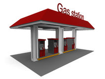 Gas Station. Isolated 3D representation of a Gas Station with shadows Royalty Free Stock Images