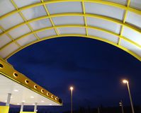 Gas station. Detail of a gas station at night Stock Photo