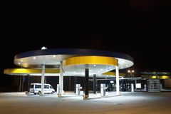 Gas station. A petrol station at night Royalty Free Stock Image