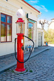 Gas station. Bright and elegant old gas station in Skansen, Sweden Royalty Free Stock Image