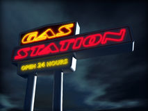 Gas station. 3d illustration of night sign of gas station royalty free illustration