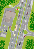 Gas station. At the highway, 2D view, cartoon illustrations vector illustration