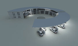 Gas station. Night gas station in 3d vector illustration