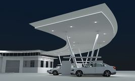Gas station. Night gas station in 3d Royalty Free Stock Image