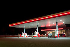 Gas station. With shop at night royalty free stock images