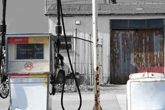 Gas station. Old style petrol station Stock Images