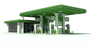 Gas station. Green gas station 3d stock illustration