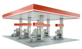 Gas station. Contemporary gas station with blank signs isolated on white background. 3D render stock illustration