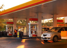 Gas Station. Busy gas station at sunset
