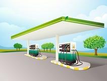 Gas station. Illustration of a gas station scene stock illustration