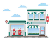 Gas station. Green gas station pumps and shop stock illustration