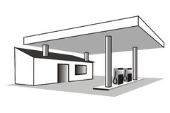 Gas station. Art illustration in black and white: gas station