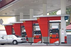 Gas Station. Image of a gas station with a motorcar being refulled Stock Image