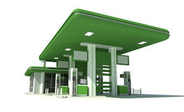 Gas station 3d. Green gas station 3d render royalty free illustration