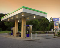 Gas Station. A view of a gas station during sunset Royalty Free Stock Images
