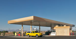 Gas Station. Pick up truck filling up at gas station royalty free stock images