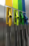 Gas station. 3D rendering of four brightly colored gas pumps Stock Photos