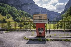Gas station in the alps stock photography
