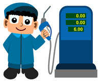Gas station attendant. A cartoon gas station attendant holding a nozzle Royalty Free Stock Images