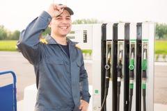Gas station attendant portrait Stock Image