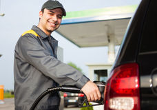 Gas station attendant at work Stock Photos