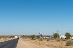 Gas station on the B1 road at Keetmanshoop. KEETMANSHOOP, NAMIBIA - JUNE 13, 2017: A gas station on the B1 road at Keetmanshoop, the capital town of the Karas Stock Photography