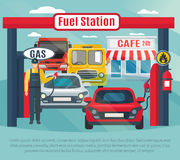 Gas Station Background Illustration. Gas station background with fuel worker cars and cafe flat vector illustration Stock Images