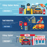 Gas Station Banners Set. Gas station horizontal banners set with fuel industries symbols flat isolated vector illustration Stock Photos