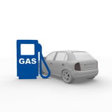 Gas station. In blue with a car Stock Photography