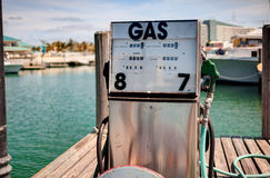 Gas station at the boat pier. Royalty Free Stock Images
