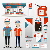 Gas station business brand design for employee uniform. Clothes, petrol station building, promotion card badge label, gift and accessories tool icon set in Stock Photography