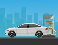 Gas station with car in city background. Stock Photos