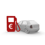 Gas station. With car and an Euro symbol Stock Photo