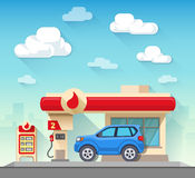Gas station and car in front of cloudy sky. Flat vector illustration gas station and car in front of cloudy sky and city silhouette Royalty Free Stock Photography