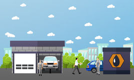 Gas station, car wash and repair shop concept vector banners. Transport related service buildings Royalty Free Stock Photos