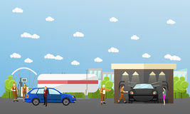 Gas station, car wash and repair shop concept vector banners. Transport related service buildings. People fuel their Royalty Free Stock Images