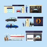 Gas station, car wash and repair shop concept vector isolated objects, icons Stock Photo