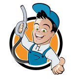 Gas Station Cartoon Man. Cartoon character of happy service station worker smiling and holding a gas hose nozzle Royalty Free Stock Photos